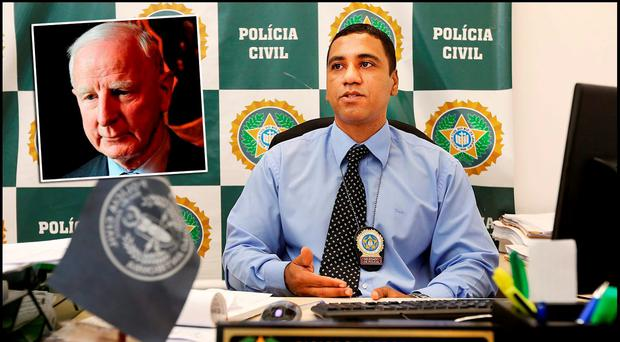Ricardo Barboza De Souza Head of the Civil Police Fraud Unit at Police City in Rio De Janeiro. Inset Pat Hickey Pic Steve Humphreys