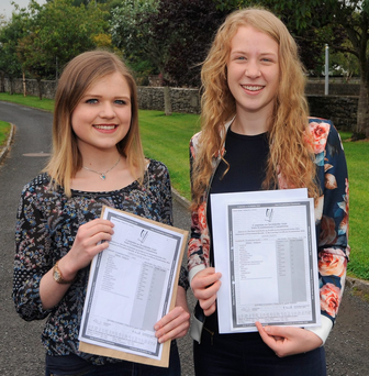 Emma Louise Ruane from Claremorris and Annie Duffy from Ballinrobe with their results Photo: Conor McKeown