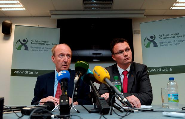 Minister for Transport, Tourism and Sport Shane Ross, left, and Minister of State for Tourism and Sport Patrick O'Donovan at a press conference regarding Olympic Tickets scandal. Picture: Caroline Quinn