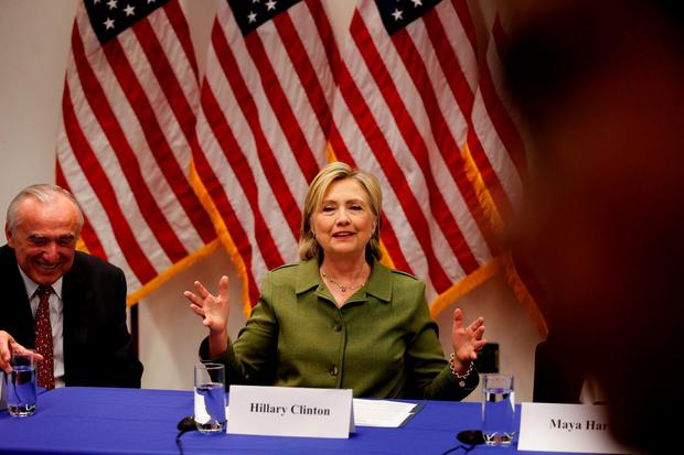 U.S. Democratic presidential nominee Hillary Clinton delivers remarks at a gathering of law enforcement leaders including New York Police Commissioner Bill Bratton (L) at John Jay College of Criminal Justice in New York, U.S., August 18, 2016. REUTERS/Lucas Jackson