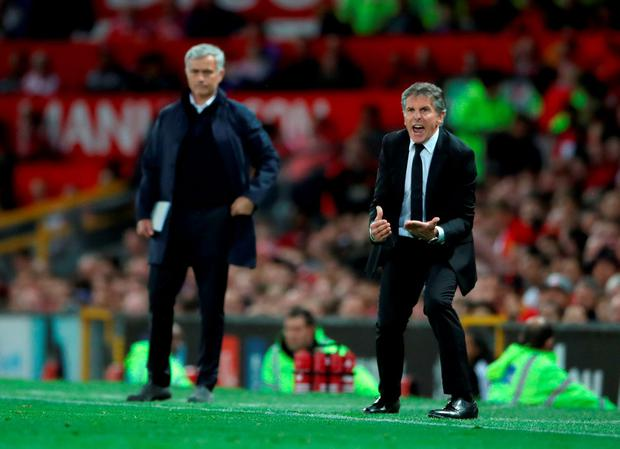Managers Jose Mourinho and Claude Puel on the touchline Photo: Nick Potts/PA Wire