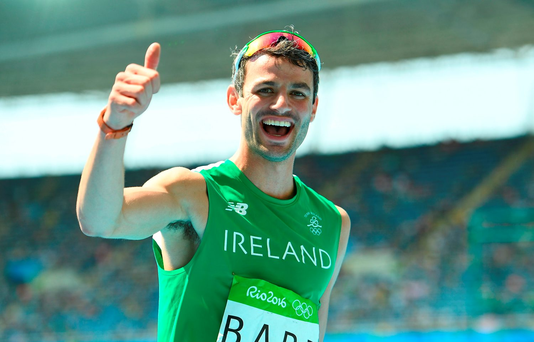 Thomas Barr celebrates his fourth-place finish in the men's 400m hurdles Photo by Brendan Moran/Sportsfile