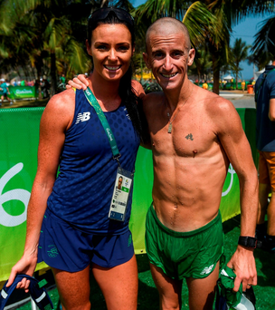 Rob Heffernan with his wife Marian after the race. Photo by Stephen McCarthy/Sportsfile