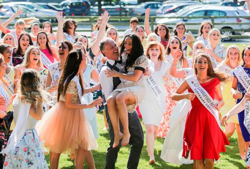 Rose of Tralee contestant Megan Ferguson (Louth) with Daithi O Se during the begining of the 2016 Rose of Tralee International Festival at RTE HQ, Donnybrook, Dublin. Photo: Gareth Chaney Collins