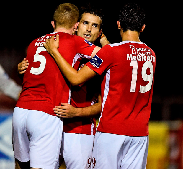 Christy Fagan (centre) of St Patrick's Athletic celebrates after scoring his side's second goal with team-mates Sean Hoare (left) and Jamie McGrath Photo: David Maher/Sportsfile