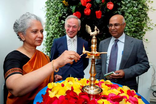 Minister Richard Bruton is pictured with the Indian Ambassador to Ireland, Mrs Radhika Lal Lokesh, and Sapnesh Lalla, president, NIIT corporate learning group. Photo: Maxwells