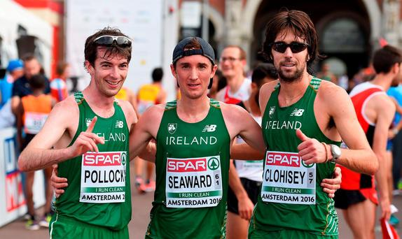 Ireland athletes, from left, Paul Pollock, Kevin Seaward and Mick Clohisey Photo by Brendan Moran/Sportsfile
