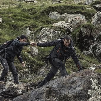 Bear Grylls and Courteney Cox tackling the wilderness of County Kerry