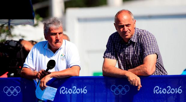 BBC's John Inverdale with former Olympic Champion Steve Redgrave at the Lagoa Stadium on the eighth day of the Rio Olympics Games, Brazil. PRESS ASSOCIATION Photo. Picture date: Saturday August 13, 2016. Photo credit should read: Mike Egerton/PA Wire. EDITORIAL USE ONLY
