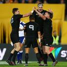 SYDNEY, AUSTRALIA - AUGUST 20: Ryan Crotty of the All Blacks celebrates his try with team mates during the Bledisloe Cup Rugby Championship match between the Australian Wallabies and the New Zealand All Blacks at ANZ Stadium on August 20, 2016 in Sydney, Australia. (Photo by Mark Nolan/Getty Images)