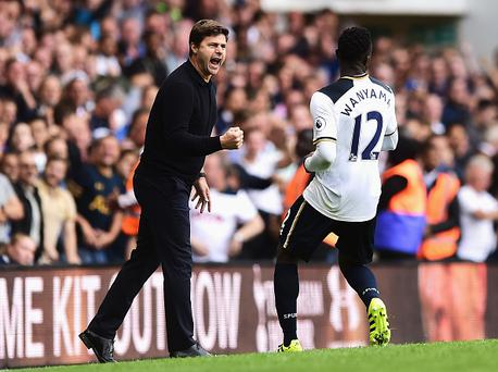 LONDON, ENGLAND - AUGUST 20: Mauricio Pochettino, Manager of Tottenham Hotspur and Victor Wanyama of Tottenham Hotspur celebrate during the Premier League match between Tottenham Hotspur and Crystal Palace at White Hart Lane on August 20, 2016 in London, England. (Photo by Alex Broadway/Getty Images)