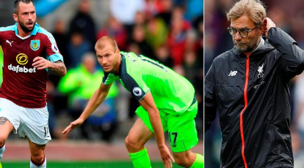 Klavan in action against Burnley and (right) Liverpool manager Jurgen Klopp