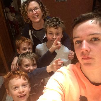 Jeanne Measom pictured with her six children