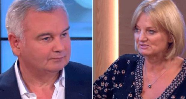 Eamonn Holmes' reaction (left) to Alice Beer's famine 'joke'