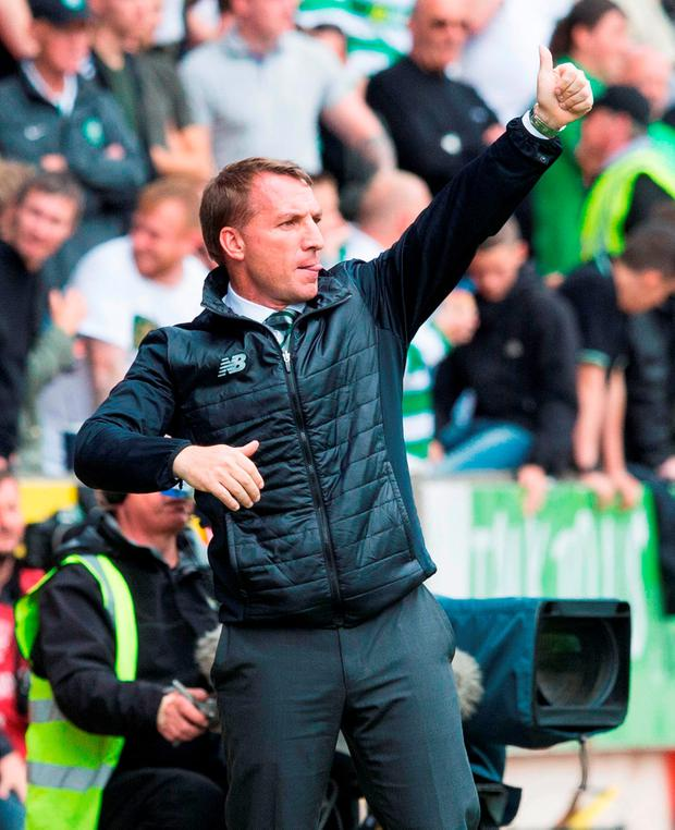 Celtic manager Brendan Rodgers gives the thumbs up