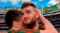 Aidan O'Shea shows his emotion as he celebrates with Cillian O'Connor after Mayo's quarter-final victory over Tyrone. Photo: Piaras Ó Mídheach/Sportsfile