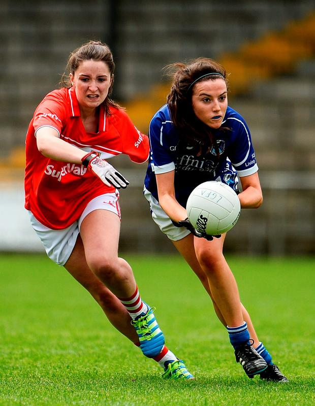 Shelia Reilly of Cavan in action against Sinéad Cotter of Cork. Photo by Sam Barnes/Sportsfile