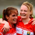 Rhona Ní Bhuachalla, left, and Vera Foley of Cork celebrate after their victory. Photo by Sam Barnes/Sportsfile