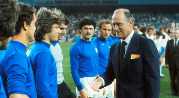 ABILITY TO CHARM: Joao Havelange meets the players at match between England and Italy in 1976 Photo: Colorsport/REX/Shutterstock