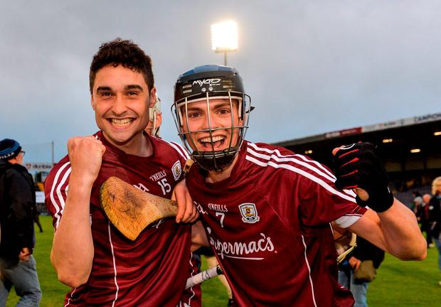 Galway's Cian Burke, left, and Seán Loftus celebrate