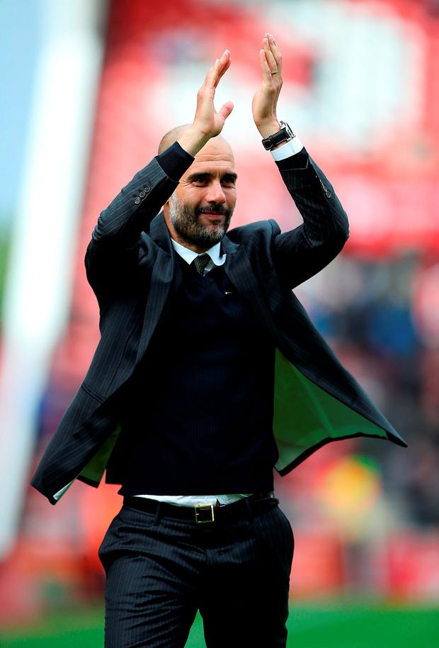 Manchester City manager Pep Guardiola applauds the fans after the match Photo: Nick Potts/PA Wire