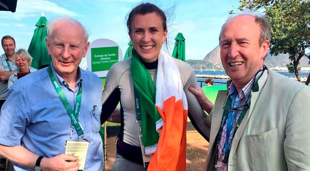Pat Hickey with Sports Minister Shane Ross and Annalise Murphy, celebrating her silver medal win