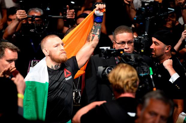 Conor McGregor of Ireland prepares to fight Nate Diaz in their welterweight bout