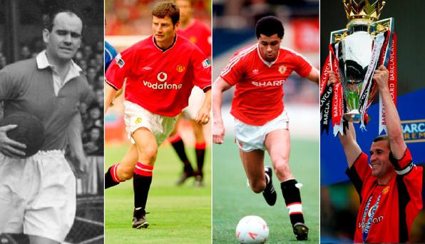 Johnny Carey, Denis Irwin, Paul McGrath and Roy Keane in their Manchester United days