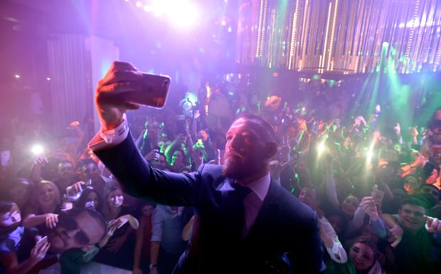 Mixed martial artist Conor McGregor celebrates his UFC 202 victory during the official after-fight party at Intrigue Nightclub at Wynn Las Vegas on August 20, 2016 in Las Vegas, Nevada. (Photo by David Becker/Getty Images for Wynn Las Vegas)