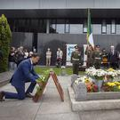 Minister for Social Protection, Leo Varadkar lays a wreath at the grave of Michael Collins during the 94th Collins/Griffith Commemoration at Glasneven cemetery. Photo: Tony Gavin