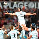 Racing Metro 92 French flanker Wenceslas Lauret misses a ball. Photo: Nicolas Tucat/GettyImages