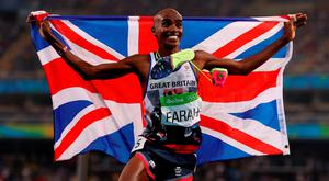 Mo Farah celebrates winning the Men's 5000m final at the Olympic Stadium in Rio. Photo: Mike Egerton/PA Wire.