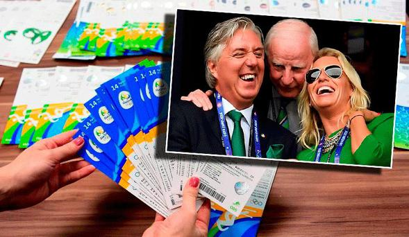 John Delaney pictured with his partner Emma English and former OCI chief Pat Hickey