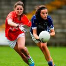 Shelia Reilly of Cavan in action against Sinéad Cotter of Cork. Photo: Sportsfile