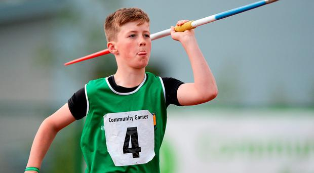 Patrick O'Neill, Caherdavin, Co Limerick, competing in the Boys U14 Javelin at the Community Games in Athlone, Co Westmeath Photo: Seb Daly/Sportsfile