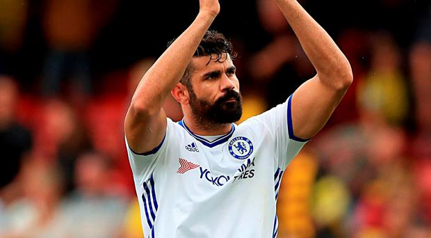 Chelsea's Diego Costa applauds the fans after the final whistle. Photo: PA