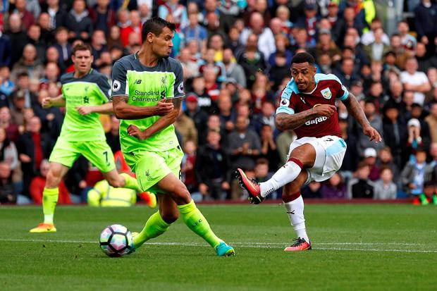 Burnley's Andre Gray scores their second goal. Photo: Reuters