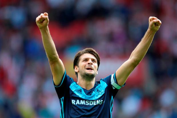 Middlesbrough's George Friend celebrates. Photo: PA