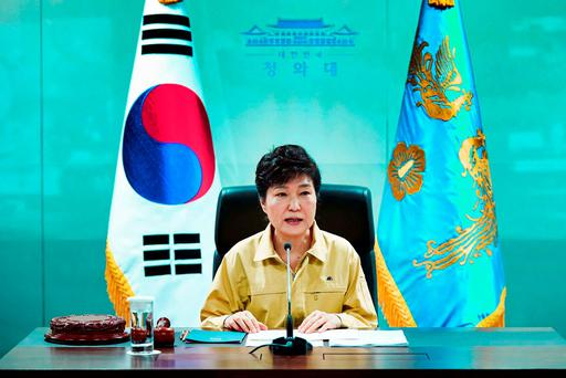 South Korean President Park Geun-hye speaks during a session of the National Security Council at the presidential house in Seoul, South Korea. (Baek Seung-ryul/Yonhap via AP)