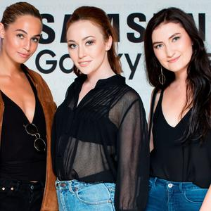 Thalia Heffernan, January Russell & Jenny Drea at the Samsung Galaxy Note 7 launch event in the RHA Gallery. Picture: Anthony Woods