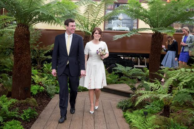 Princess Eugenie and Jack Brooksbank attend the Chelsea Flower Show press day at Royal Hospital Chelsea on May 23, 2016 in London, England. The show, which has run annually since 1913 in the grounds of the Royal Hospital Chelsea, is open to the public from 24-28 May. (Photo by Heathcliff O'Malley - WP Pool/Getty Images)