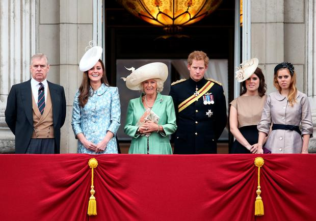 L-R) Prince Andrew, Duke of York, Catherine, Duchess of Cambridge, Camilla, Duchess of Cornwall, Prince Harry, Princess Eugenie and Princess Beatrice stand on the balcony of Buckingham Palace following the Trooping The Colour ceremony