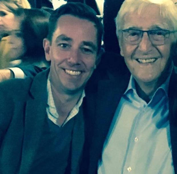 Michael Parkinson with Ryan Tubridy. Photo: Twitter