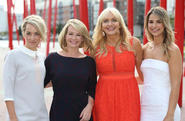 Kathryn Thomas, Claire Byrne, Miriam O'Callaghan and Vogue Williams pictured this morning at the Bord Gais Theatre at the launch of the new season's shows for RTE 1 and RTE 2. Picture Colin Keegan, Collins Dublin.