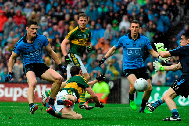 Kerry's Killlian Young slipping at the wrong time in last September's All-Ireland final. Photo: David Maher / Sportsfile