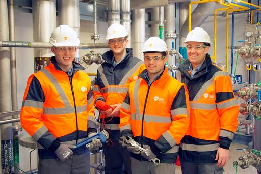 GSK apprentices Peter Cashman, Adam Looney and Daniel O'Sullivan with Leonard Cunningham