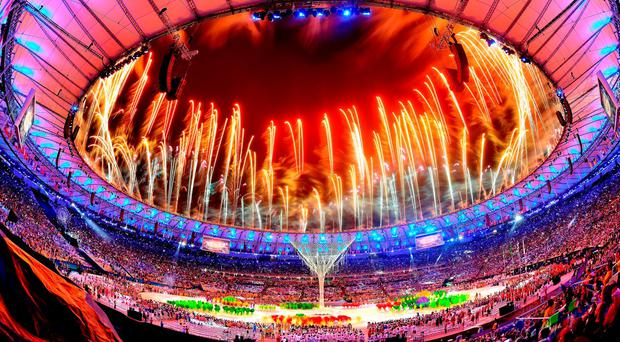 Fireworks explode above the Maracana Stadium at the end of the closing ceremony for the Rio Olympic Games. Photo: Pascal Le Segretain/Getty Images
