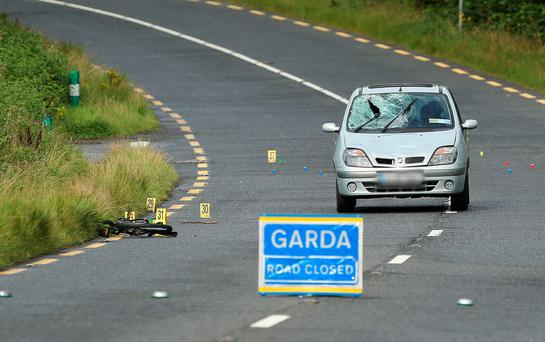 The bicycle and the car at the scene of the accident on the Drogheda to Slane road. Photo: Damien Eagers