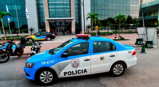 A police car outside the Hospital Samaritano Barra in Rio de Janeiro, Brazil. Photo by Stephen McCarthy/Sportsfile