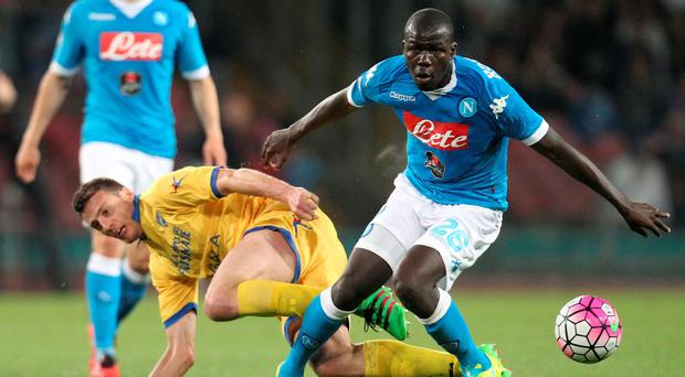 Napoli defender Kalido Koulibaly (right) in action for Napoli against Udinese Photo: CARLO HERMANN/AFP/Getty Images)